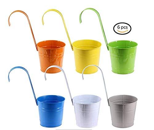 Lot de 6 pots de fleurs - Diamètre : 15 cm - 6 couleurs différentes - Avec crochets - Métal - Pour suspendre au balcon, dans le jardin et à la fenêtre