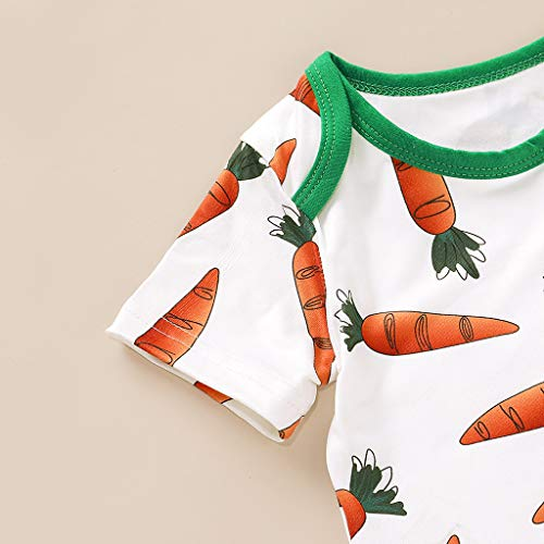 AMhomely Baby Clothing Promotion Sale Clearance Infant Baby Girls Easter Day Carrot Bodysuit Romper+Pants+Rabbit Ears Hat Set UK Size Birthday Gift