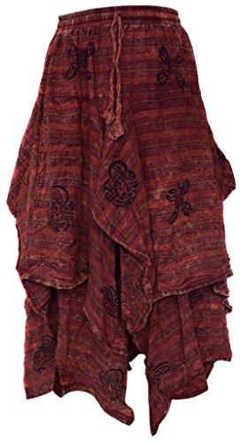 Little Kathmandu algodón 2capas falda asimétrica larga con cintura elástica de verano rojo J Talla única