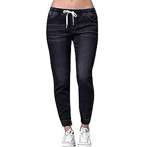 Women's Plus Cropped Jeans Elastic Plus Loose Denim Casual Drawstring...