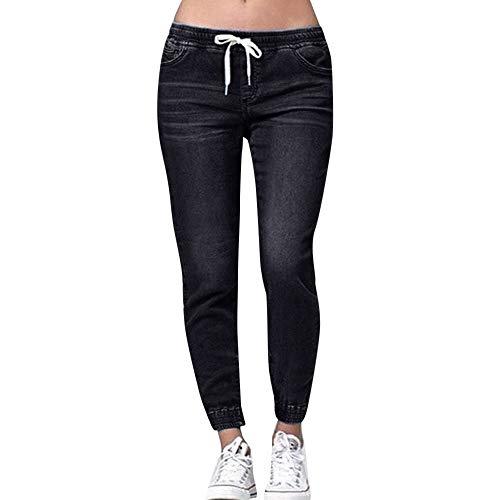 YUNDAN Plus Size Denim Pants for Women Casual Elastic Waist Drawstring Trousers High Waist Classic Indigo Jean Leggings