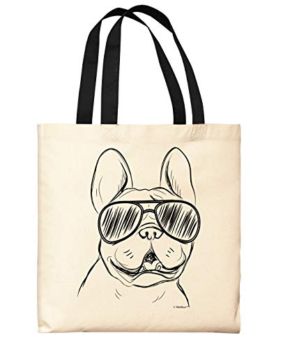 Dog Lovers Gifts Bulldog In Sunglasses Bulldog Tote Bag Frenchie Gifts Black Handle Canvas Tote Bag