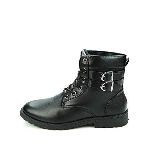 Casual Suede Shoe Männer-Stiefel Round Toe Lace up Kunstleder High Top Solid Color Stich Dual-Schnalle Straps Anti-Rutsch Herren Sneaker (Color : Schwarz, Größe : 44 EU)