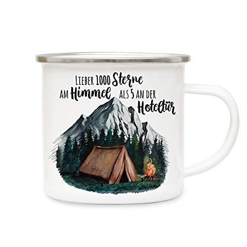 ilka parey wandtattoo-welt Emaille Becher Camping Tasse Zelt campen Wildnis Wald Berge & Spruch Lieber 1000 Sterne am Himmel. Kaffeetasse Geschenk eb415