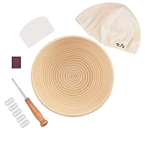 Bread Proofing Basket Set - Banneton Proofing Basket Round 9'', Linen Cloth Liner, Bread Scoring Lame &Blades, Dough Bench Scraper, for Bread Baker