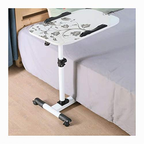 ALBBMY Overbed Bedside Table Days Overbed Table Height-Adjustable Can Be Used in The Bedroom, Living Room, Nursing Patient (Color : White)