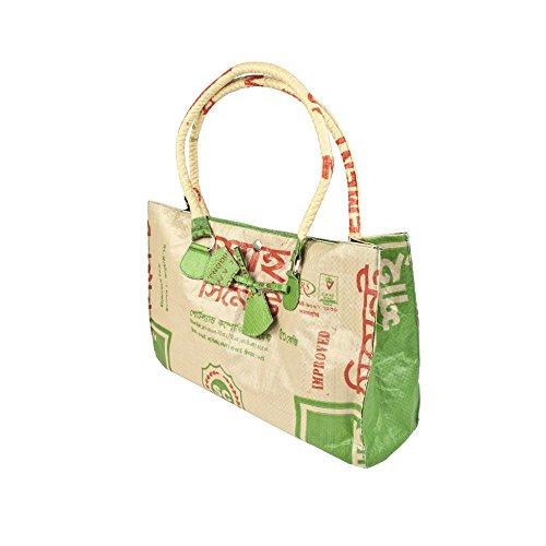 Upcycling Damen Handtasche Ribbon mit Zierschleife Zementsack, Farbe:Beige-Grün