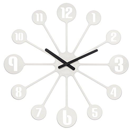 koziol Wanduhr Pinball, Kunststoff, solid weiß, 3,2 x 45 x 45 cm