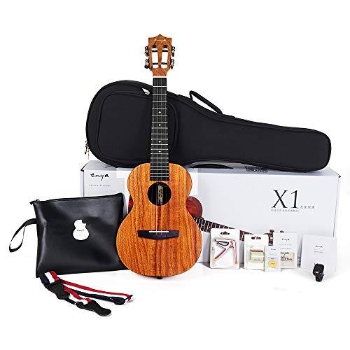 Tenor Ukulele Enya 26 Inch Beginner Kit, HPL and Mahogany Neck – With Bundle Includes Case, Strap, Strings, Capo, Sand Shaker, Picks, Polish Cloth (EUT-X1)