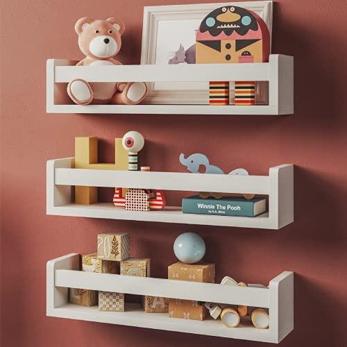 Set of 3 White Nursery Room Shelves