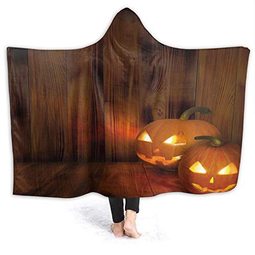 YOUMEISU Manta con Capucha,Jack O Lanterns Scary Halloween Photography en un Interior de Madera con temática de otoño,Mantas con Capucha Manta Cálida Invierno 130x150cm