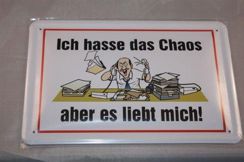 Desconocido Ich Hasse el Chaos–Pero es liebt Mich. Cartel de Chapa 20x 30cm Fun Cartel