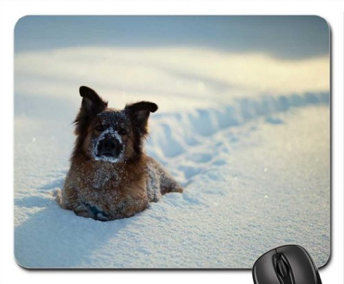 Playtime in the snow Mouse Pad, Tapis de Souris (Dogs Mouse Pad)
