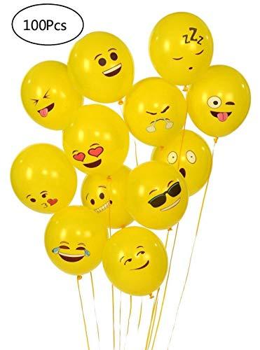 YueChen 100 Pcs Emoji Globos, Látex Globos, Smiley Face Globos para el cumpleaños del niño Suministros de Fiesta favores (Globo amarillo)