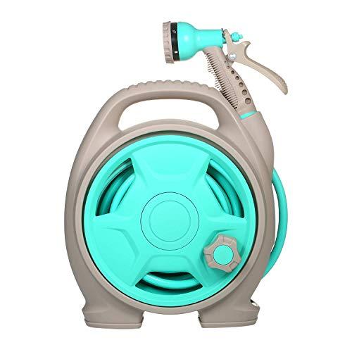 MZH Carrete de Manguera de jardín retráctil con 6 boquillas rociadoras Ajustables Conector de Doble tamaño 10M Herramienta de Agua para Garaje Herramientas de Limpieza de automóviles