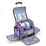 Luxja Bolsa para Remalladora, Bolsa Trasporte para Maquina Overlock y Accesorios (con Trolley Desmontable), Púrpura
