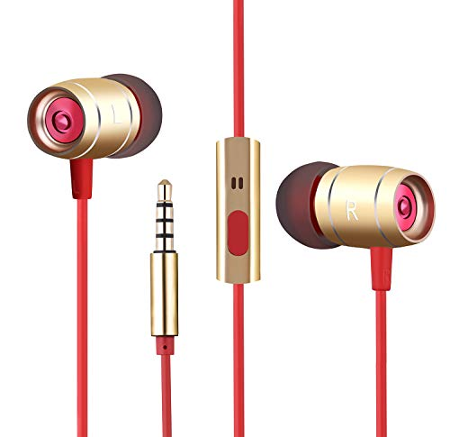 Earphones Earbuds with Microphone Wired Headphones Headset with Mic for Android Phone Computer Laptop in-Ear Headphones Wired Earbuds for Samsung Galaxy Google Pixel BLU Motorola (Gold)
