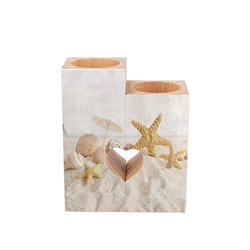 Portavelas de madera con forma de corazón y estrellas de mar, conchas de mar y arena para la playa, decoración de pareja personalizada, regalo de cumpleaños hecho a mano