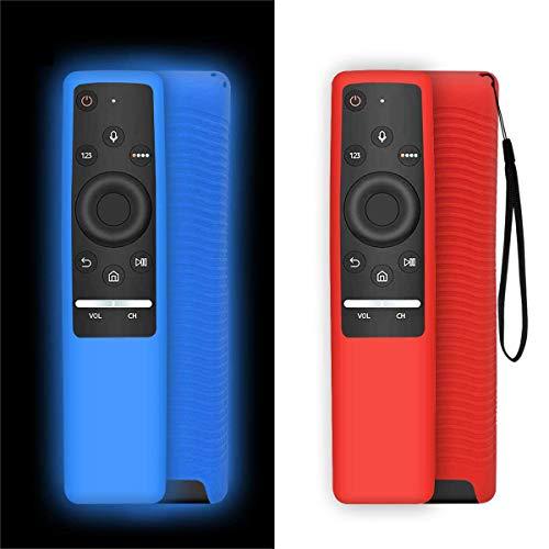 NANTING 2 PCS Funda Protectora para Control Remoto de Smart TV Serie Samsung BN59, Ligero,Adecuado para Fundas de Silicona para niños,Correa Antideslizante a Prueba de Golpes y antipérdida(Rojo+Azul)