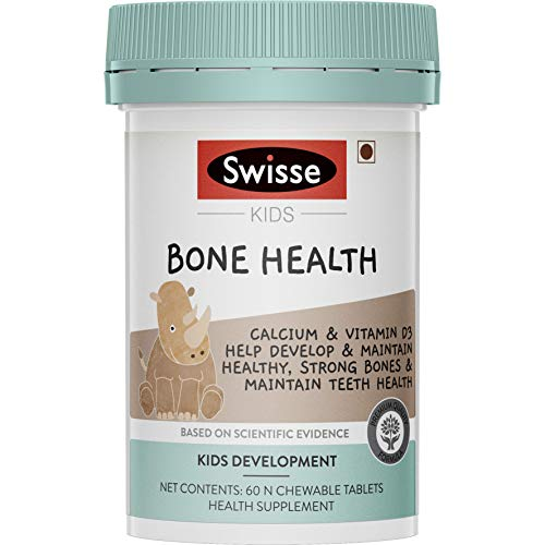 Swisse Kids Bone Health supplements (Calcium and Vitamin D3) for Healthy, strong bones and maintenance of teeth health (5-12 years) - 60 Chewable Tablets