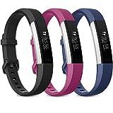 Wanme compatible with Fitbit Alta Band Alta HR Bracelet,Replacement en TPU Confortable Réglable Sport Accessorie pour Fitbit Alta et Alta HR(No Tracker)(04 Black/Navy Blue/Purple, L)