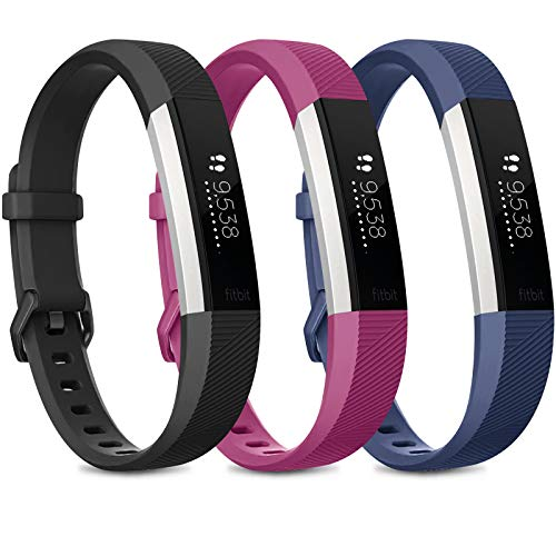 Wanme, cinturino di ricambio per Fitbit Alta HR, cinturino regolabile in morbido silicone sportivo per Fitbit Alta HR e Fitbit Alta (senza tracker), 04 nero/blu navy/viola., S