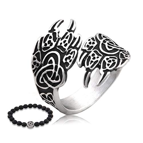 Gungneer Celtic Bear Paw Ring for Men Stainless Steel Power Protection Irish Knot Amulet Trinity Jewelry Accessory (13)