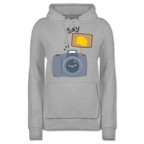Fotografen - Kamera Say Cheese - XS - Grau meliert - Fun - JH001F - Damen Hoodie und Kapuzenpullover für Frauen