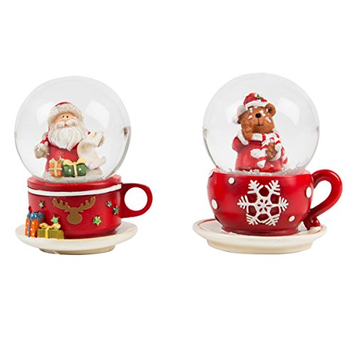 Sass & Belle Niedliche Schneekugel Santa Claus oder Bär in der Teetasse - Lieferung je nach Lagerbestand - Preis pro Stück!