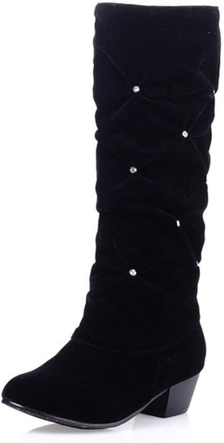 Women Ladies Biker Calf Boots New Simple and Versatile High Tube Large Size Thick with The Middle of The Student Boots Autumn Winter Grip Sole Boots