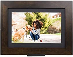 Brookstone PhotoShare Smart Digital Picture Frame, WiFi, HD, Family Photo Album Slideshow, Tabletop End Table, Home...