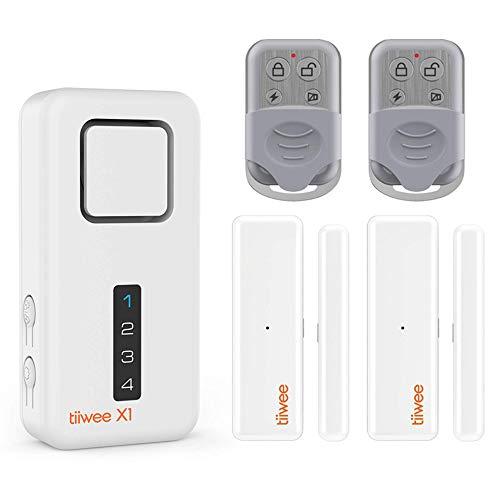 tiiwee X1 Sistema de Alarma para el Hogar - Inalámbrico - Sistema Completo con Sirena de 120 dB, 2 Sensores de Puerta y Ventana, 2 Controles Remotos