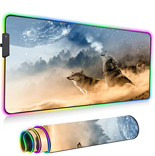 Gaming Mouse Pad Large LED Oversized Thick Light Up Mouse Pad XXL Keyboard and Mouse Pad Giant Desk Mat Rainbow Lightspeed-Two Wolves 300x350x3mm(11.8x13.7x0.12in)