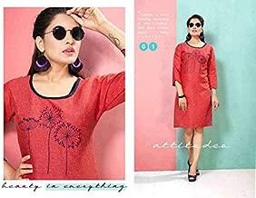 Pure Cotton Kurta & Kurtis Tops For Women Casual Wear-Large(Size)-Crimeson Red