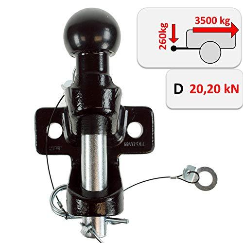 Zugmaul mit Kugelkopf für Anhängerkupplungsbock/Maulkupplung inkl. AHK-Kugel – Doppelte Ausführung Lochbild 90mm