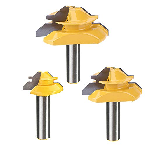 "Yakamoz 3Pcs 1/2"" Shank 45 Degree Angle Lock Miter Router Bit Set Joint Router Bits Milling Cutter Woodworking Tool for Cutting 1/2"" 3/4"" 1"" Wood Stock"