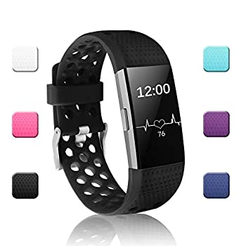 POY Replacement Bands Compatible for Fitbit Charge 2 Adjustable Breathable Wristbands with Air Holes Straps Large Black
