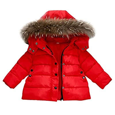 Forestime Baby Girls Boys Kids Down Jacket Coat Down Feather Winter Warm Children Clothes (2-3 Years, red)