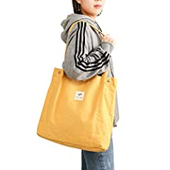 Material: Made by high quality cotton canvas, super sturdy and durable, soft and washable. Will be the essential everyday tote bag and shoulder bag for you. Feels very soft, comfortable and skin-friendly when your hand touch it. Dimension: Size is 15...