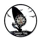 Njuxcnhg 12'Vintage Uhr Wand Dekor Friseur Friseur Beruf Rekord kreative Surfen Thema Retro-Stil handgemachte Moderne Kunst Wand Hobby großes Geschenk