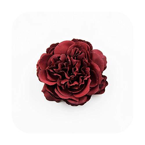 JinJ Bracelets 2pcs Simulation Artificial Flowers 8cm real touch peony flower head For Wedding Home Decoration DIY Garland Craft Flower-Burgundy-