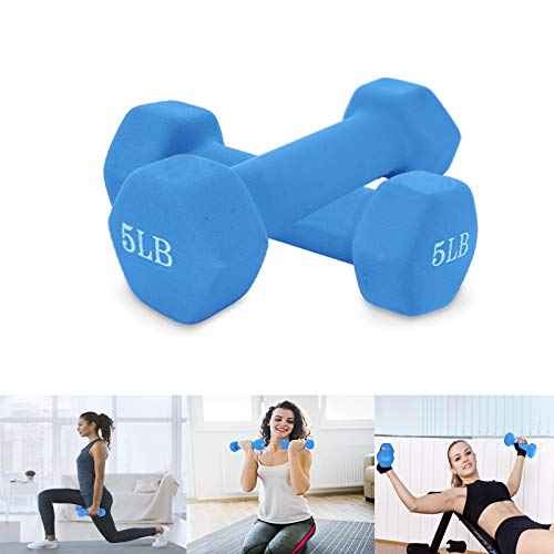 Dumbbells,Exercise & Fitness Dumbbells,Dumbbells Weights for Exercise,Barbell Set of 2 All-Purpose Dumbbells in Pair Neoprene Coated Dumbbell Weights Home Exercise Machines (Blue(5LB))