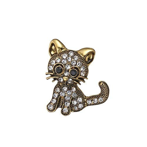 Fashion Frog Gecko Cats Snail Pin Brooches for Women Enamel Collar Crystal Animal Brooch Pin-Brown Cat