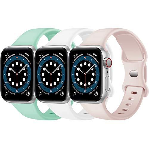 Confezione 3 cinturini Apple Watch compatibili con Apple Watch 38 mm, 42 mm, 40 mm, 44 mm, cinturino sportivo in silicone morbido, compatibile con iWatch serie SE 6 5 4 3 2 1 (F, 42MM 44MM)
