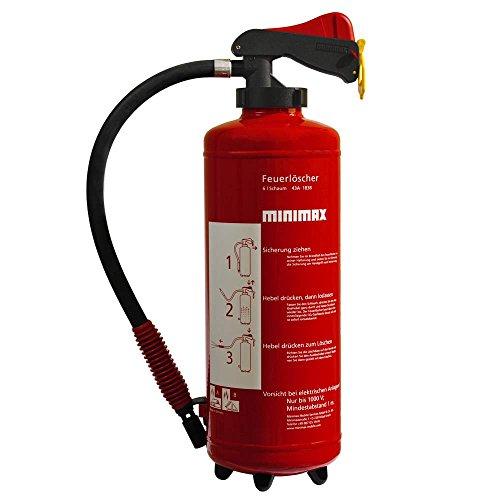 Minimax Schaum-Aufladefeuerlöscher 6 l | Feuerlöscher 6 Liter Schaum | Brandklasse A und B | EN3 | Made in Germany