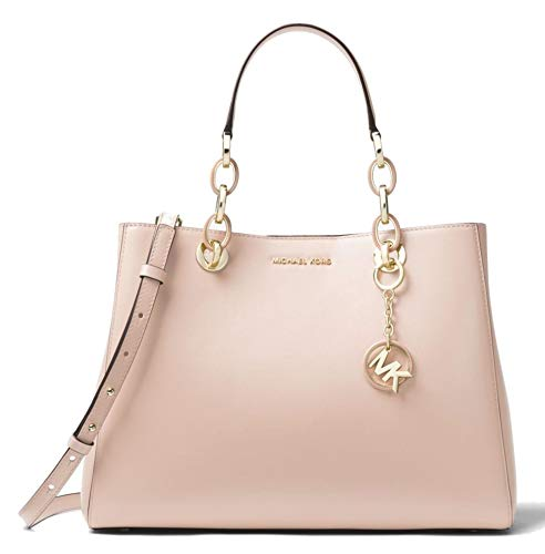Cynthia satchel is a polished desk-to-dinner staple for seasons to come. Rendered in smooth leather, this spacious carryall features a chain-link handle for tactile richness. Crafted with Soft Smooth Soft Pink Color Leather , Features a Chain-Link Ha...