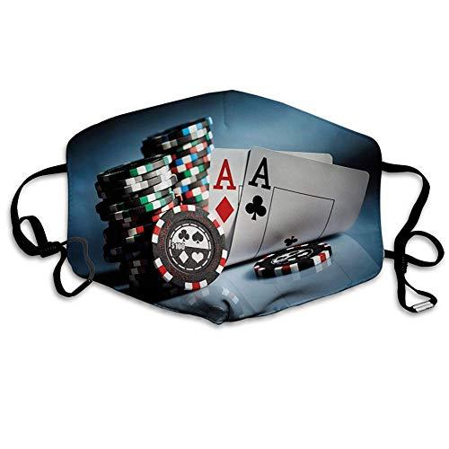 Unisex Gesichtsdekorationen,Mundschutz,Staubdichter Gesichtsbedeckung,Poker Tournament Gambling Chips and Pair Cards of Aces Casino Wager Games Hazard Print
