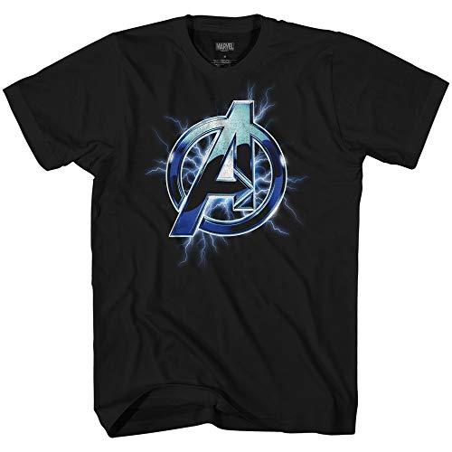 Marvel Avengers A Lightning Thor Logo Symbol Adult Graphic T-Shirt(Black,Large)