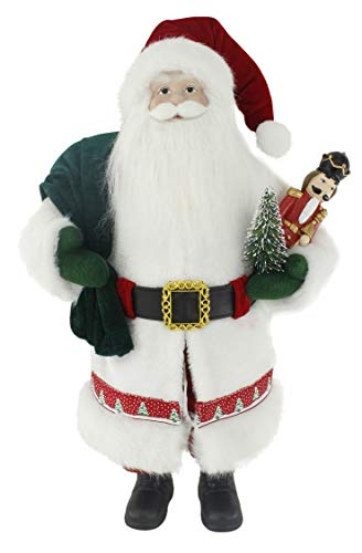 "Windy Hill Collection Snowy White Woodland with Nutcracker 18"" Inch Santa Claus Standing Figurine Figure Decoration 180038"
