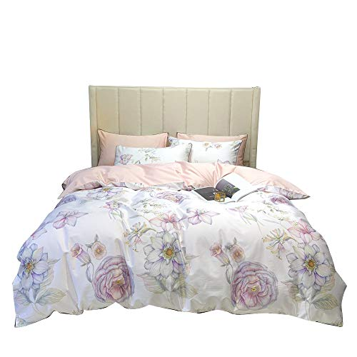 BoxHome Flower Queen Duvet Cover Sateen Full Bedding Sets White Pink Two Sided Pattern Bedding Comforter Cover Best Gift for Family Friends No Comforter No Sheet